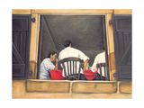 Chef and Waiters Having Service Lunch, 1999 Giclee Print by Peter Breeden