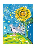 Dove and Sunflower, 2004 Giclee Print by Sarah Gillard