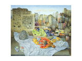 Still Life with Papaya and Cityscape, 2000 Giclee Print by James Reeve