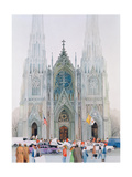 St. Patrick's Cathedral, New York, 1990 Giclee Print by Myung-Bo Sim