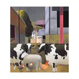 Farmer with Cows, 1992 Giclee Print by Reg Cartwright