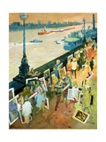 Thames Embankment, Front Cover of 'Undercover' Magazine, Published December 1985 Giclee Print by George Adamson