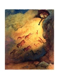Mr Punch, Cave Explorer Giving Animals in Lascaux a Fright, Unpublished Commission by 'Punch', 1968 Giclee Print by George Adamson