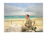Porthmeor Man and Dog Giclee Print by Alan Kingsbury