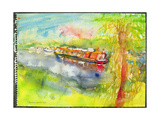 Narrow Boat on the River Lea Giclee Print by Brenda Brin Booker