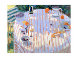 In the Garden, Table with Oranges Giclee Print by Sarah Butterfield