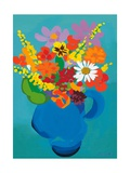 Flowers in Blue Jug Giclee Print by Sarah Gillard