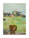 Pony in the Farm Meadow, East Green, 1980 Giclee Print by Brenda Brin Booker