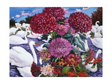 Swans and Chrysanthemums, 2005 Giclee Print by Christopher Ryland