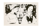 Jane Austen (1775-1817) and Charlotte Bronte (1816-55) - An Imaginary Encounter Giclee Print by George Adamson