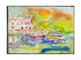 Riverside Pub with Boats Giclee Print by Brenda Brin Booker