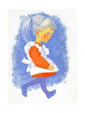 Little Girl with Apron, 1970s Giclee Print by George Adamson