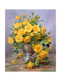 Bright Smile - Roses in a Silver Vase Giclee Print by Albert Williams