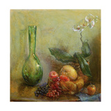 Orchid with Basket of Fruit and Green Vase Giclee Print by Gail Schulman