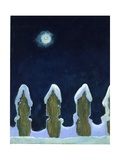 Moonlit Snowy Fence, 1970s Giclee Print by George Adamson
