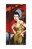 Olive Satin Dress Giclee Print by Catherine Abel
