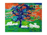 White Bullocks under a Tree Giclee Print by Brenda Brin Booker