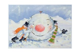 Building a Snowman Giclee Print by David Cooke