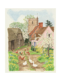Church and Farm Track, 1998 Giclee Print by Linda Benton