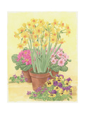 Pots of Spring Flowers, 2003 Giclee Print by Linda Benton