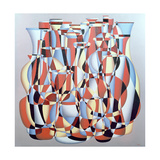Dimentional Transposition, Vermillion Cerulean Giclee Print by Brian Irving