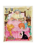 Grandma and 2 Cats and a Pink Bed Giclee Print by Linda Benton
