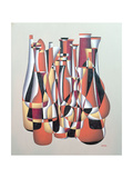 Improvised Dimentional Transposition, Carmine Vermillion Giclee Print by Brian Irving