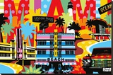 Miami Stretched Canvas Print by  Lobo