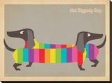 Mod Rainbow Dogs Stretched Canvas Print by  Anderson Design Group