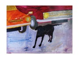 Dog at the Used Car Lot, Rex with Red Car Giclee Print by Brenda Brin Booker