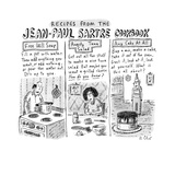 Jean-Paul Sartre Cookbook - New Yorker Cartoon Premium Giclee Print by Roz Chast