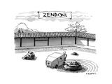 A guy is driving around a zen garden making the lines in the sand. At the … - New Yorker Cartoon Premium Giclee Print by Pat Byrnes