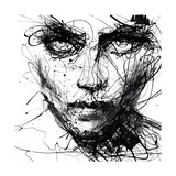 In Trouble, She Will - abstraktes Portrait, schwarz/weiss Poster von Agnes Cecile