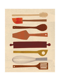 Wine and Dine - Baking Utensils Giclee Print by Lorena Siminovich