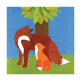 Forest Babies - Fox Family Reproduction procédé giclée par Lorena Siminovich
