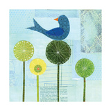 Blue Bird on Flowers Giclee Print by Lorena Siminovich