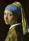 Girl with a Pearl Earring Framed Canvas Mount by Jan Vermeer