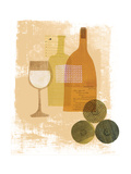 Wine and Dine - White Wine Giclee Print by Lorena Siminovich
