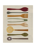Wine and Dine - Cooking Utensils Giclee Print by Lorena Siminovich
