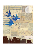 Swallows with Skyline Giclee Print by Lorena Siminovich