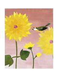 Bird with Chrysanthemum Giclee Print by Lorena Siminovich