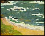 The Beach Near Le Pouldu, 1889 Framed Canvas Print by Paul Gauguin