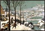 Hunters in the Snow, February, 1565 Framed Canvas Print by Pieter Bruegel the Elder