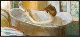 Woman in Her Bath, Sponging Her Leg, circa 1883 Framed Canvas Print by Edgar Degas