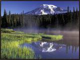 Early Morning on Reflection Lake, Mt. Rainier National Park, Washington, USA Framed Canvas Print by Jamie & Judy Wild