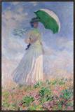 Woman with a Parasol Turned to the Right, 1886 Framed Canvas Print by Claude Monet