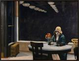 Automat Framed Canvas Print by Edward Hopper