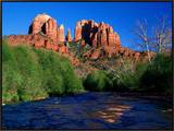 Cathedral Rock Above Oak Creek at Red River Crossing, Sedona, Arizona Framed Canvas Print by David Tomlinson