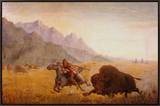 The Buffalo Hunter Framed Canvas Print by Seth Eastman