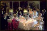 The End of Dinner, 1913 Framed Canvas Print by Jules-Alexandre Grün